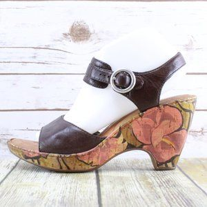 BORN Ankle Strap Cork Wedge Heels Sandals Size 10